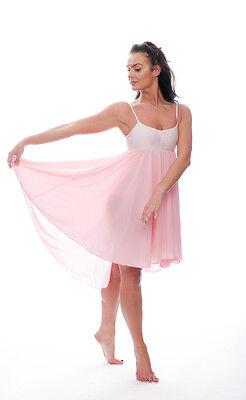 Donne Ragazze Rosa Pallido Lirico Abito Contemporaneo Balletto Danza Costume 2