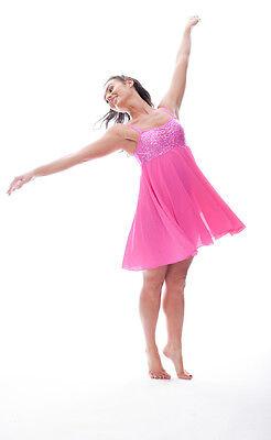Rosa Acceso Lustrini Corto Lirico Abito Contemporaneo Balletto Danza Costume 7