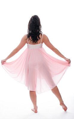 Donne Ragazze Rosa Pallido Lirico Abito Contemporaneo Balletto Danza Costume 7