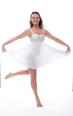 Bianco Luccicanti Paillettes Corto Lirico Abito Contemporaneo Balletto Danza 6