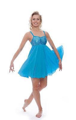 Blu Turchese Lustrini Corto Lirico Abito Contemporaneo Balletto Danza Costume 7