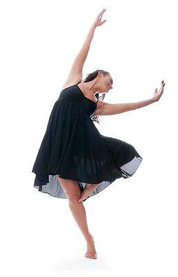 Donne Ragazze Nero Tinta Unita Lirico Abito Contemporaneo Balletto Danza Costume 3
