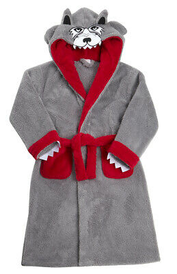 Kids Childrens Novelty Dressing Gown Robe Fun Fleece Character Design Ages 2-13 3