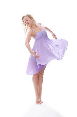 Donne Ragazze Lilla Tinta Unita Lirico Abito Contemporaneo Balletto Danza 8