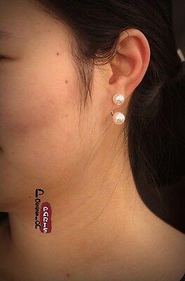 Boucles d`Oreilles Clous Double Perle Blanche Soirée Mariage Argenté EE 3