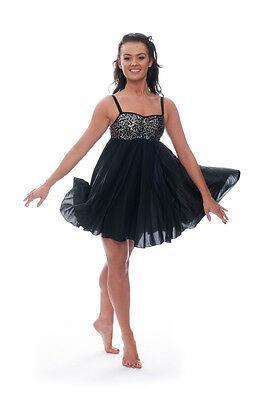 Nero Luccicanti Paillettes Corto Lirico Abito Contemporaneo Balletto Danza 2