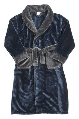 Childrens Boys Kids Robe Dressing Gown Plush Contrast Nightwear Sleepwear New 3