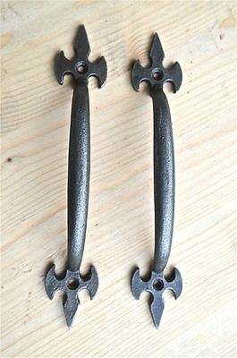 Pair Of Gothic Fleur De Lys End Cast Iron Door Handle Drawer Pull Wh35 2
