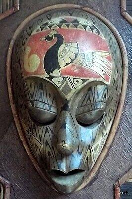 Quadro Etnografico Tribale Con Maschere In Legno. 5
