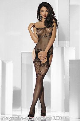 Sexy Catsuit Dessous Bodystocking aus Netz Ouvert Straps-Bodystocking  schwarz 2