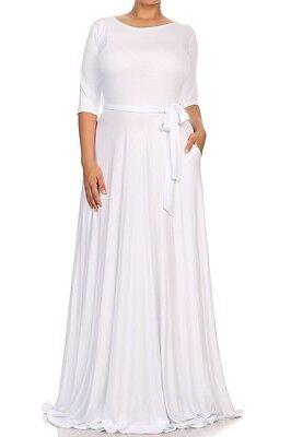 7aee328a2ea ... Solid Jersey Maxi Dress Side Pocket Full Sweep Long Skirt Wrap Tie Belt  3