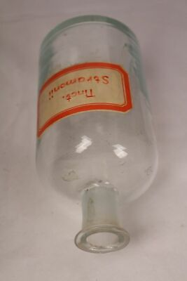 Apotheker Flasche Medizin Glas Tinct. Stramonii antik Deckelflasche Email 11
