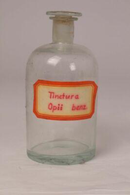 Apotheker Flasche Medizin Glas Tincture Opii benz. antik Deckelflasche Email 5
