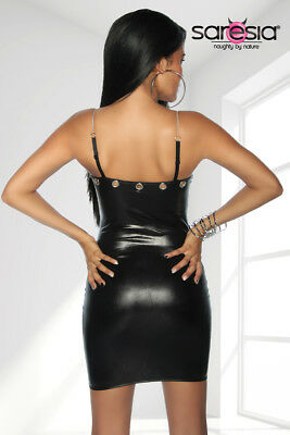 Sexy Wetlook Minikleid mit Kette Lederlook Gogo Erotik Schwarz XS S M L XL 3