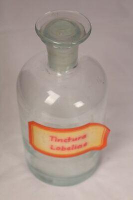 Apotheker Flasche Medizin Glas Tinctura Lobeliae antik Deckelflasche Email 2