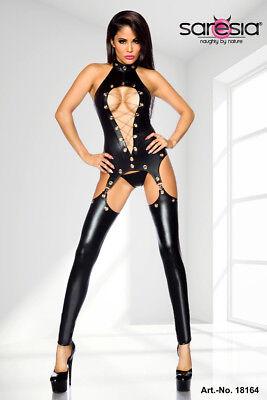 Sexy Wetlook Straps-Set Top, String, Stulpen Leder Gogo Erotik Schwarz S M L XL