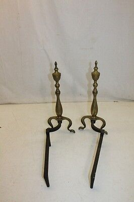 Antique Pair of Regency Style Brass Andirons, Fireplace, 19th Century 4