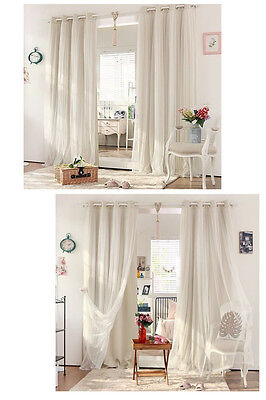 Double Layers EYELET CURTAINS Bridal Lace GIRLS Curtain Beige Cream