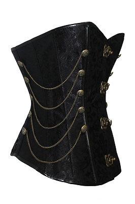 Corset Bustier Serre-Taille Steampunk Noir Chaines - Punk - Baroque - Gothique 2
