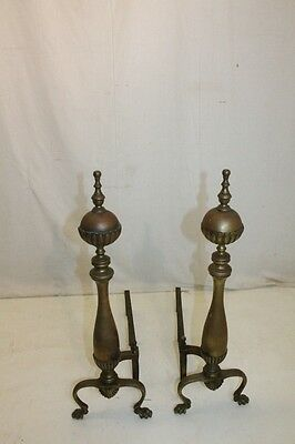 Gorgeous Antique Pair of Regency Style Bronze Andirons, Fireplace, 19th Century