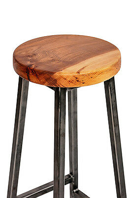 'Charlie Elmsworth' Chunky Square Frame Bar Stool with Chunky Elm Seat 3