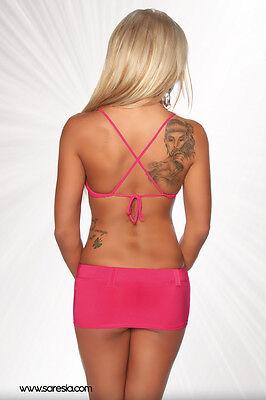 SEXY completo rosa 3 pezzi MINIGONNA+TOP+CINTURA taglia unica (40/42) GLAMOUR !