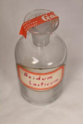 Apotheker Flasche Medizin Glas Acidum lacticum antik Deckelflasche Email 2