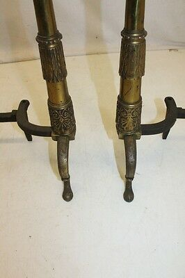 Beautiful Antique Pair of Regency Style Brass Andirons, 19th Century 7