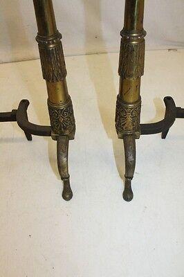 Beautiful Antique Pair of Regency Style Brass Andirons, 19th Century