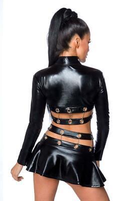 Sexy Wetlook Set Jacke + Rock Ketten Lederlook Gogo Erotik Schwarz XS S M L XL 2
