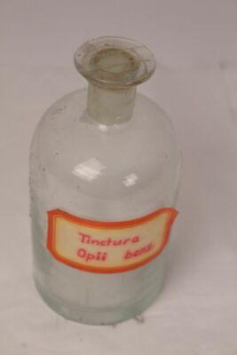Apotheker Flasche Medizin Glas Tincture Opii benz. antik Deckelflasche Email 4