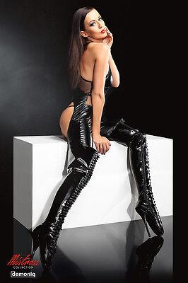 Demoniq Catsuit Wetlook String Tanga Overalls Bodys schwarz neu Sexy GoGo Club 3