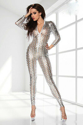 Naturlatex Jumpsuit, Naturlatex Catsuit, Lack Overall, Silber, S-M-L 3