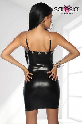 Sexy Wetlook Minikleid mit Kette Lederlook Gogo Erotik Schwarz XS S M L XL 7