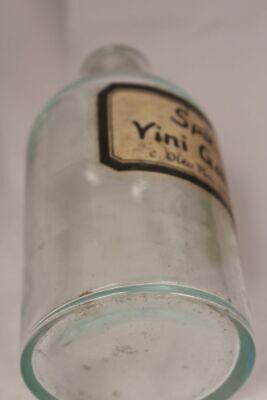 Apotheker Flasche Medizin Glas Spir. Yini Gallaicici antik Deckelflasche Email 7