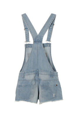 Girl's Teenagers Distressed Denim Dungaree Frayed Shorts Denim Playsuit 3