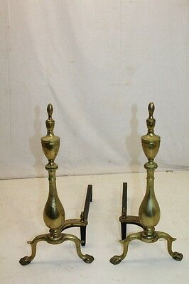 Charming Pair of Regency Style Brass Puritan Andirons, Fireplace, 19th Century 2