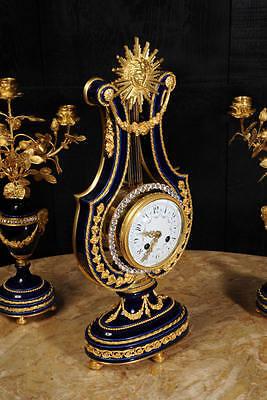 Fine Cobalt Blue Ormolu Louis Xvi Lyre Clock Set Mystery Jewelled Pendulum Bezel 6