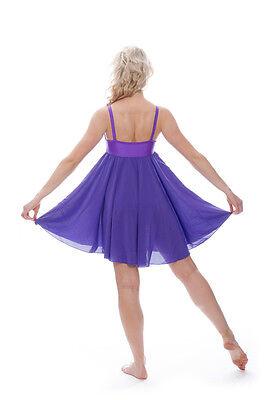 Viola Luccicanti Paillettes Corto Lirico Abito Contemporaneo Balletto Danza 3 • EUR 27,49