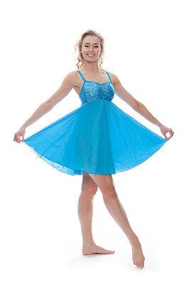 Blu Turchese Lustrini Corto Lirico Abito Contemporaneo Balletto Danza Costume 3