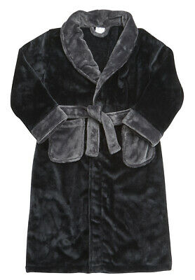 Childrens Boys Kids Robe Dressing Gown Plush Contrast Nightwear Sleepwear New 2
