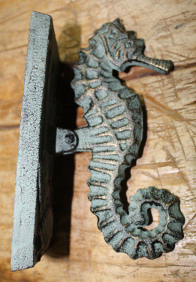 Cast Iron Antique Style Nautical SEAHORSE Door Knocker Green Finish Sea Shell 2
