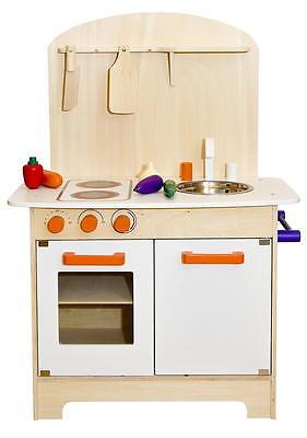 Kinderküche aus Holz Spielküche Küche Kinder Spielzeug Holzküche weiß orange NEU 3