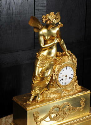 EARLY FINE BRONZE DORE ORMOLU ANTIQUE FRENCH CLOCK PSYCHE and the BUTTERFLY 1820 4