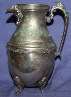 Antique ornate silver plated footed milk jug creamer pitcher 4