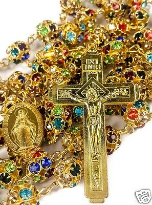 Colorful Zircon Beads Golden Rosary Catholic Necklace Miraculous Medal Cross 3