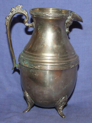 Antique ornate silver plated footed milk jug creamer pitcher 12