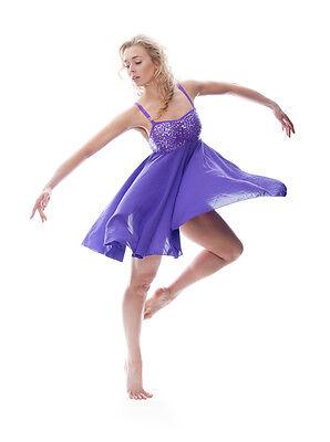 Viola Luccicanti Paillettes Corto Lirico Abito Contemporaneo Balletto Danza 4 • EUR 27,49