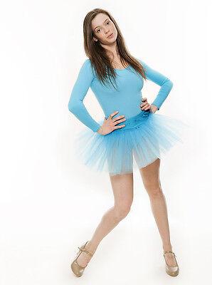 Da Ragazza Turchese Balletto Danza Costume 3 Rete Strato Gonna Tutù Da Katz 6 • EUR 10,44