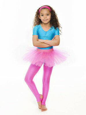 Da Ragazza Rosa Acceso Balletto Danza Costume 3 Rete Strato Gonna Tutù Da Katz 2